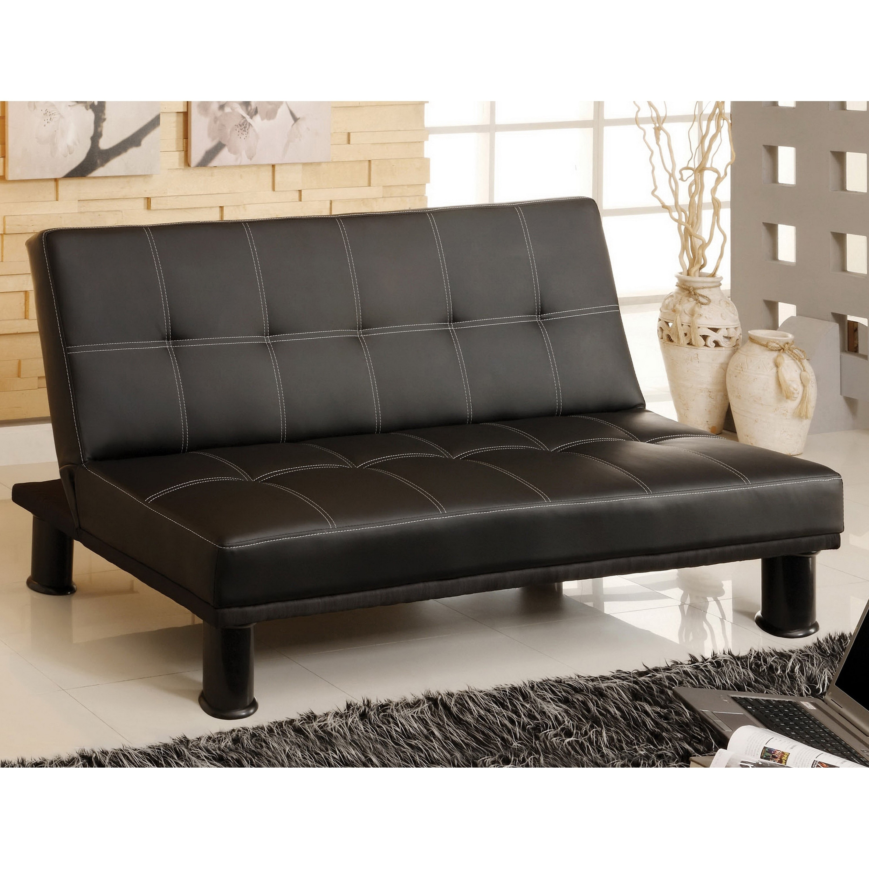 Stupendous Furniture Of America Zova Contemporary Black Faux Leather Futon Sofa Short Links Chair Design For Home Short Linksinfo