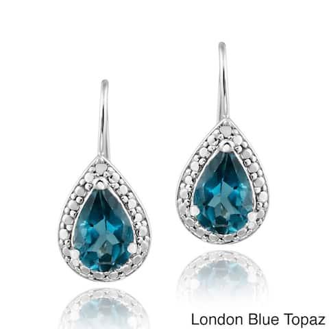 Glitzy Rocks Silver 3ct TGW London Blue Topaz and Diamond Earrings