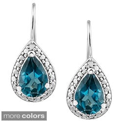 Glitzy Rocks Silver 3ct TGW London Blue Topaz and Diamond Earrings