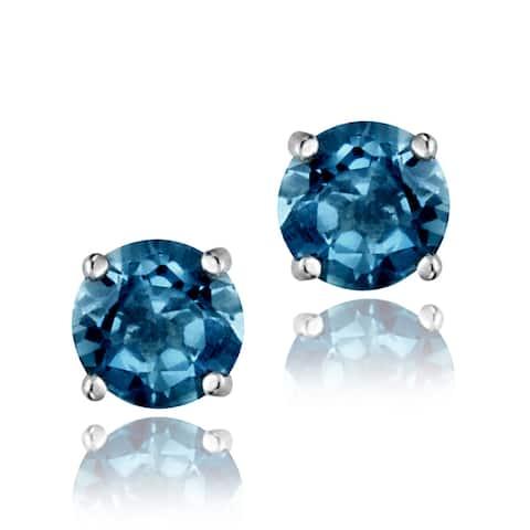 Glitzy Rocks Sterling Silver 1 1/6ct TGW London Blue Topaz 5-mm Stud Earrings