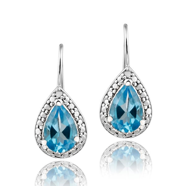Glitzy Rocks Sterling Silver Swiss Blue Topaz and Diamond Accent Earrings