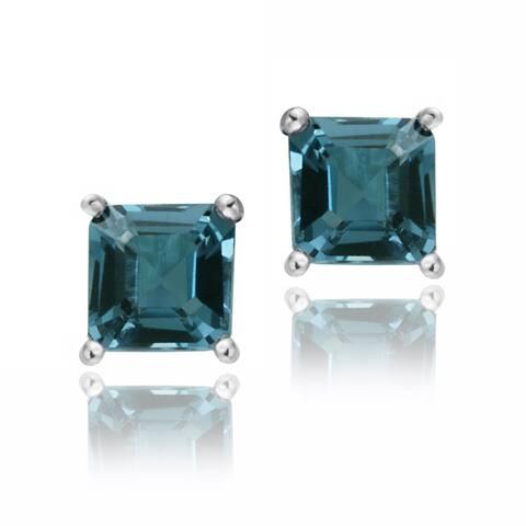 Glitzy Rocks Sterling Silver 1 1/2ct TGW London Blue Topaz Princess Stud Earrings
