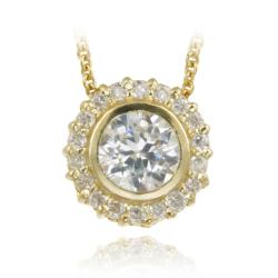 Icz Stonez 18k Gold over Sterling Silver Cubic Zirconia Circle Necklace