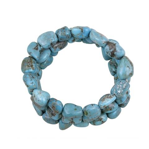Glitzy Rocks Sterling Silver Turquoise Nugget 3-row Bracelet
