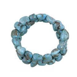 Glitzy Rocks Sterling Silver Turquoise Nugget 3-row Bracelet
