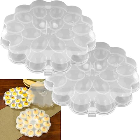 Chef Buddy Deviled Egg Trays with Snap-on Lids (Set of 2)
