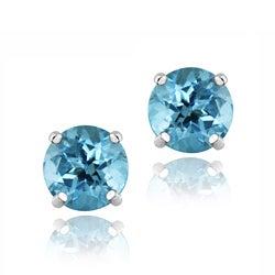 Glitzy Rocks Sterling Silver 5-mm Swiss Blue Topaz Stud Earrings
