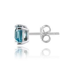 Glitzy Rocks Sterling Silver 5mm Princess Swiss Blue Topaz Stud Earrings - Thumbnail 1
