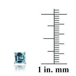 Glitzy Rocks Sterling Silver 5mm Princess Swiss Blue Topaz Stud Earrings - Thumbnail 2