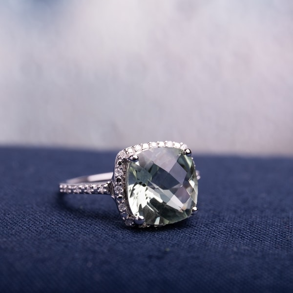 Miadora Sterling Silver Cushion-cut Green Amethyst and 1/10ct TDW Diamond Halo Cocktail Ring (G-H, I2-I3). Opens flyout.