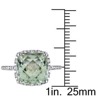 Miadora Sterling Silver Cushion-cut Green Amethyst and 1/10ct TDW Diamond Halo Cocktail Ring (G-H, I2-I3)