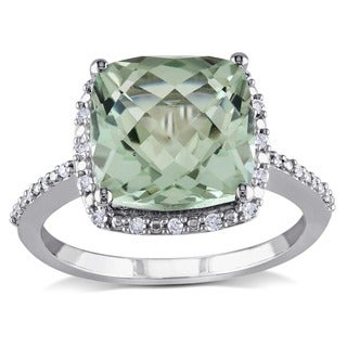 Miadora Sterling Silver Cushion-cut Green Amethyst and 1/10ct TDW Diamond Halo Cocktail Ring (G-H, I2-I3)