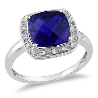 Miadora 10k White Gold Cushion-cut Created Blue Sapphire and 1/10ct TDW Diamond Halo Cocktail Ring (G-H, I2-I3)