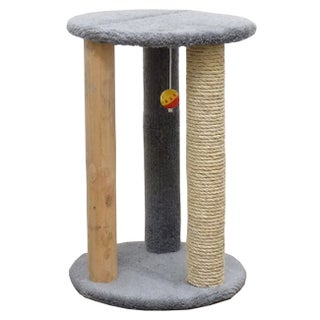New Cat Condos Round Multi-scratcher with Sisal Rope (Option: Gray)