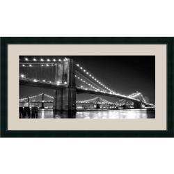 Phil Maier 'Brooklyn Bridge and Manhattan Bridge at Night' 43 x 25-inch Framed Art Print