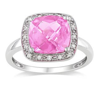 Shop Miadora 10k White Gold Created Pink Sapphire And 1