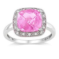 Miadora 10k White Gold Created Pink Sapphire and 1/10ct TDW Diamond Ring