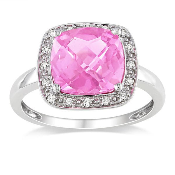 Miadora 10k White Gold Created Pink Sapphire and 1/10ct TDW Diamond Ring