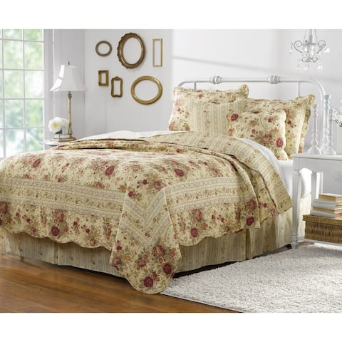 Greenland Home Antique Rose 5-piece Reversible Cotton Quilt Set