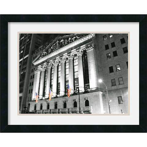 Framed Art Print 'New York Stock Exchange at Night' by Phil Maier 24 x 19-inch