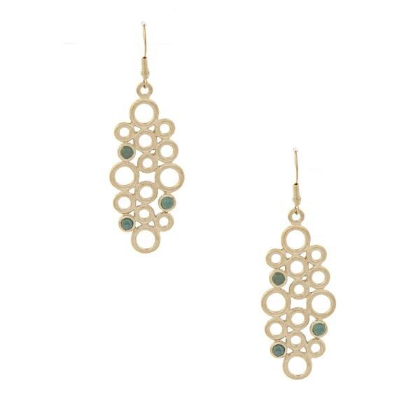 Rivka Friedman Gold Overlay Caribbean Blue Quartzite Dangle Earrings
