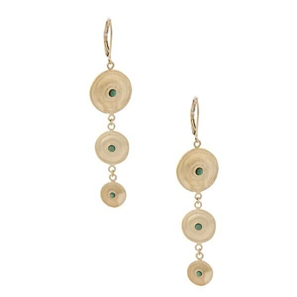 Rivka Friedman Gold Overlay Cascading Green Quartzite Dangle Earrings