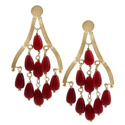 Rivka Friedman 18k Gold Overlay Red Quartzite Chandelier Earrings