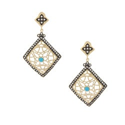 Rivka Friedman Gold Overlay Magnesite and Cubic ZIrconia Earrings