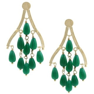 Rivka Friedman 18k Gold Overlay Green Quartzite Chandelier Earrings