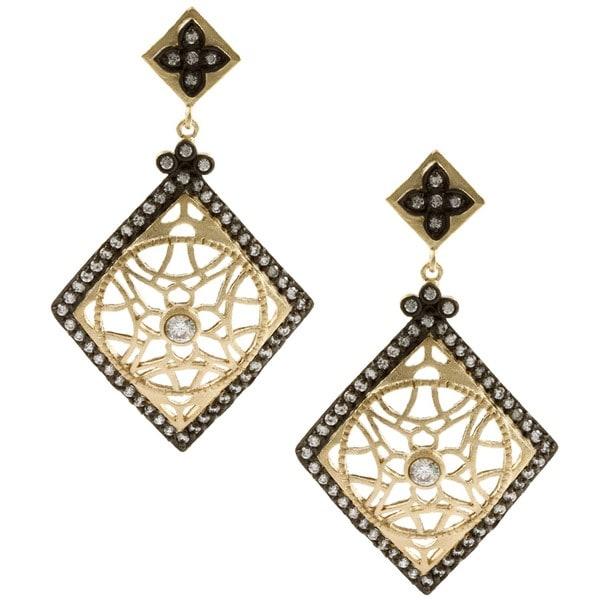 Rivka Friedman 18k Gold Overlay Esha Clear Cubic Zirconia Earrings