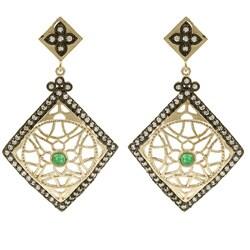Rivka Friedman 18k Gold Overlay Esha Green Quartzite Earrings