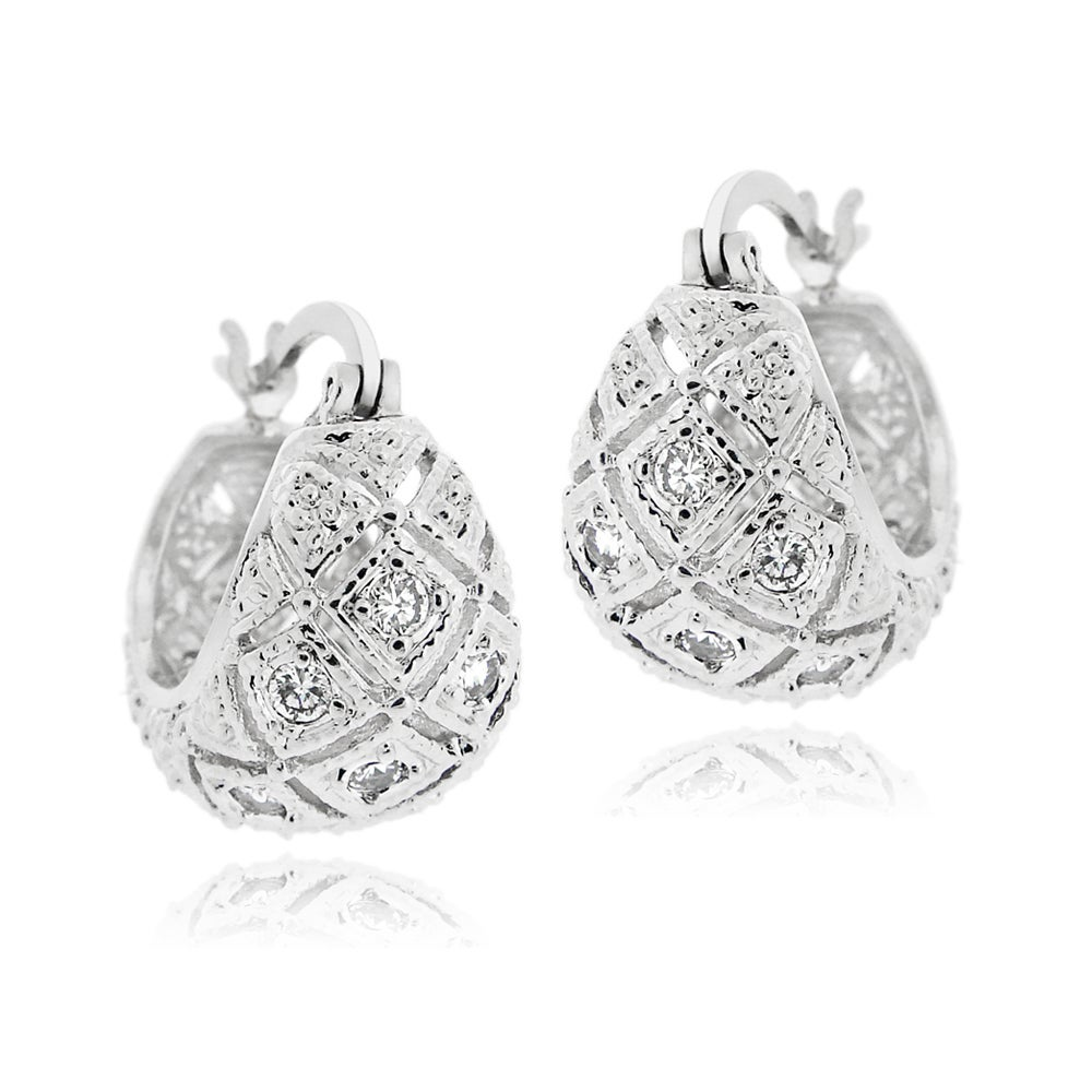 Icz Stonez Silvertone Cubic Zirconia Rhodium Plated Hoop Earrings