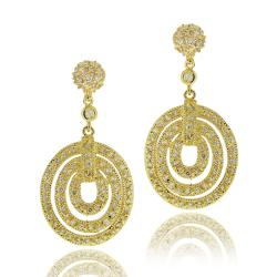 Icz Stonez 14k Goldplated Cubic Zirconia Geometric Circle Dangle Earrings