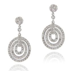 Icz Stonez Rhodiumplated Cubic Zirconia Geometric Circle Dangle Earrings