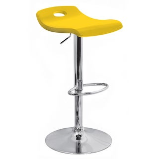 Yellow Surf Curved Wood Barstool