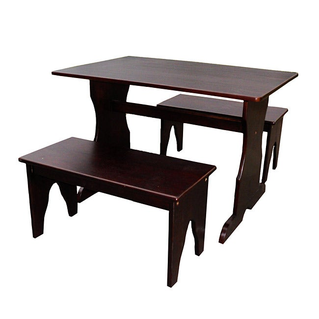 Juvenile Java Finish Table with Two Benches Set