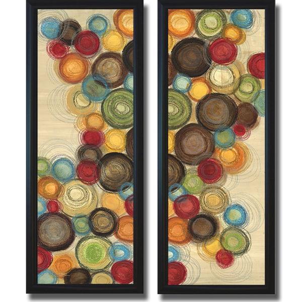 Jeni Lee 'Wednesday Whimsy I and II' Framed 2-piece Canvas Art Set