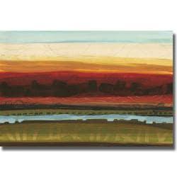 Jeni Lee 'Skyline Symmetry II' Canvas Art - Orange/Blue - Thumbnail 0