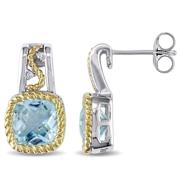 Miadora Silver and 10k Gold Blue Topaz and Diamond Accent Earrings