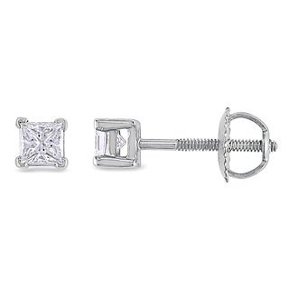 Miadora Signature Collection Platinum 1/2ct TDW Princess-cut Diamond Stud Earrings (G-H, SI1-SI2)