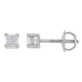 Miadora Signature Collection Platinum 1/2ct TDW Princess-cut Diamond Stud Earrings