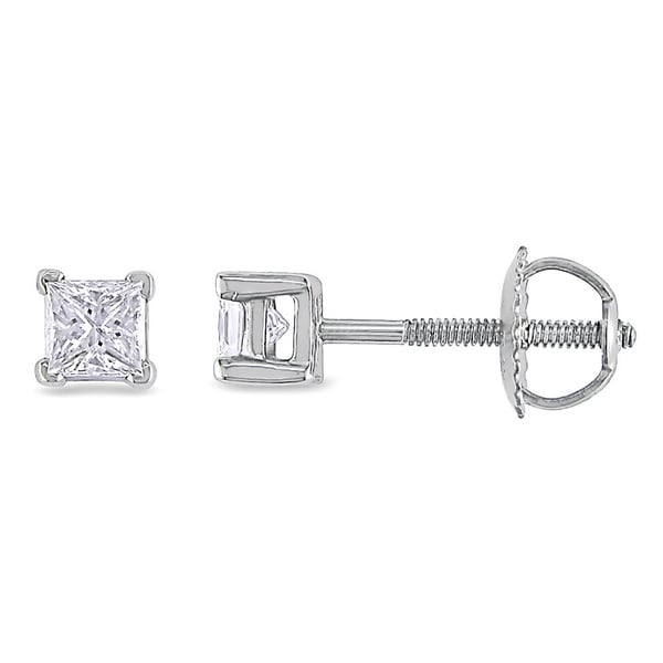 Miadora Signature Collection Platinum 1/2ct TDW Princess-cut Diamond Stud Earrings