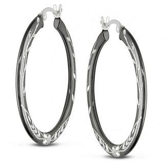 Miadora Sterling Silver Grey Rhodium Flower Design Hoop Earrings