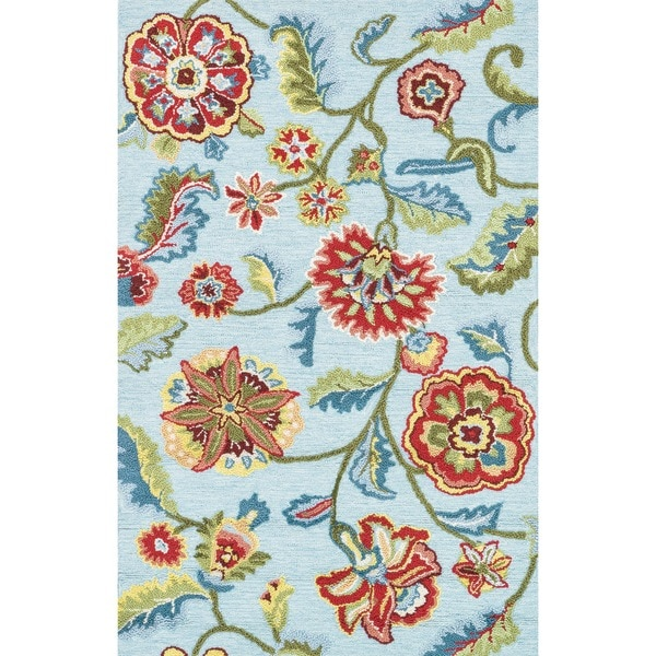 Hand-hooked Peony Blue Floral Rug (3'6 x 5'6)
