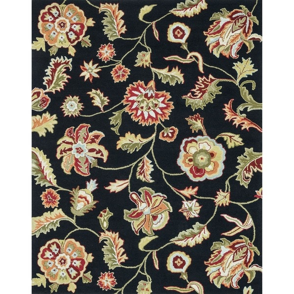 Hand Hooked Peony Black Floral Rug 7 6 X 9 6 Free
