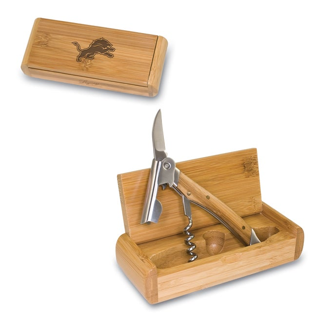 Elan Bamboo Detroit Lions Corkscrew and Box