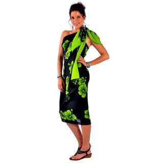 Handmade 1 World Sarongs Women's Plus-size Hibiscus Flower Sarong (Indonesia)