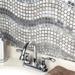 SomerTile 11.75x12.25-inch Reflections Wave Mercury Glass, Stone and Metal Mosaic Wall Tile (Case of 10)
