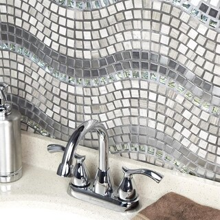 SomerTile 11.75x12.25-inch Reflections Wave Mercury Glass, Stone and Metal Mosaic Wall Tile (10 tiles/10 sqft.)