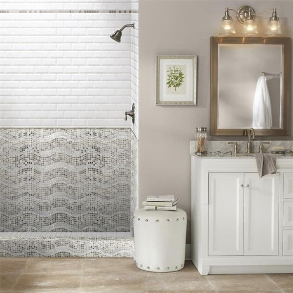 Shop Somertile 11 75x12 25 Inch Reflections Wave Mercury Glass Stone And Metal Mosaic Wall Tile 10 Tiles 10 Sqft Overstock 6193623